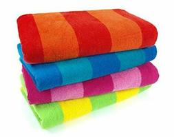 Kaufman 100% Cotton Velour Striped Beach & Pool Towel 4-Pack