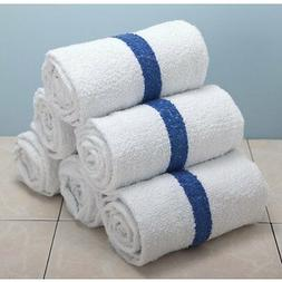 48 BLUE STRIPE POOL TOWELS 6# PER DOZEN BATH 22x44 TOWELS
