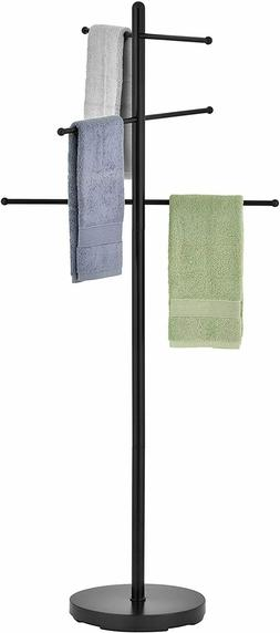 MyGift 5.5 ft Freestanding Black Metal 6 Rung Pool and Spa T