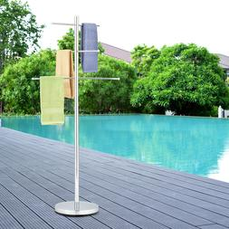 MyGift 6 Rung Luxury Chrome Plated Metal Freestanding Pool a