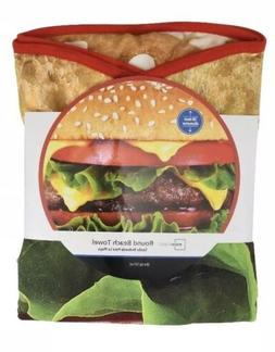 Beach Towel Burger Oversized Round Polyester 58 Inch Multi-C