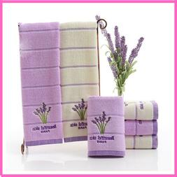 Beach Towel Cotton  Embroidery Romantic Lavender For The Poo