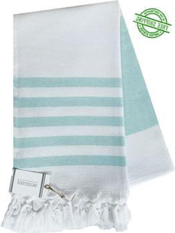 Beach Towel Extra Large Oversized  Green Accented Turkish Wi