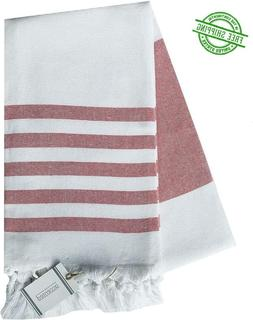Beach Towel Extra Large Oversized  Red Accented Turkish With