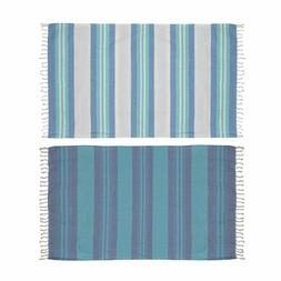 Blue and White Striped Woven Cotton Beach Pool Towel with Fr