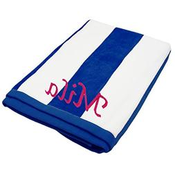 Custom Embroidered Striped Pool, Beach Towel - Red, Blue, Gr
