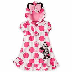 Disney Minnie Mouse Pink Ears Polka Dots Swimsuit Cover Up P