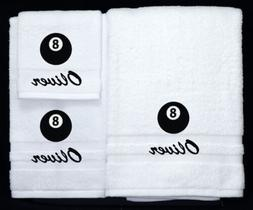Eight Ball Pool Embroidered Logo Personalized Bath Towel 3 P