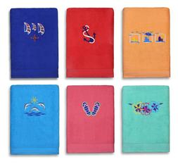 Kaufman- EMBROIDERED VELOUR BEACH AND POOL TOWEL 100% COTTON
