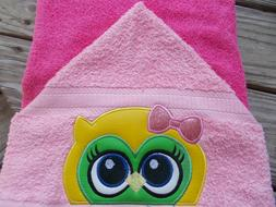 Girl Owl Hooded Towel. Great Gift for Bath, Pool or Beach! H