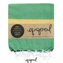 Loopys Green & Yellow Stripe premium Turkish Towel Beach Bat