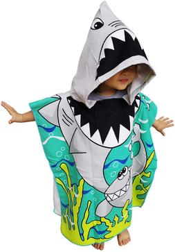 Athaelay Kids Hooded Poncho Towel with Bright Shark for Bath
