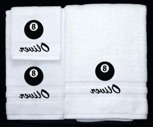 eight ball pool embroidered logo personalized bath