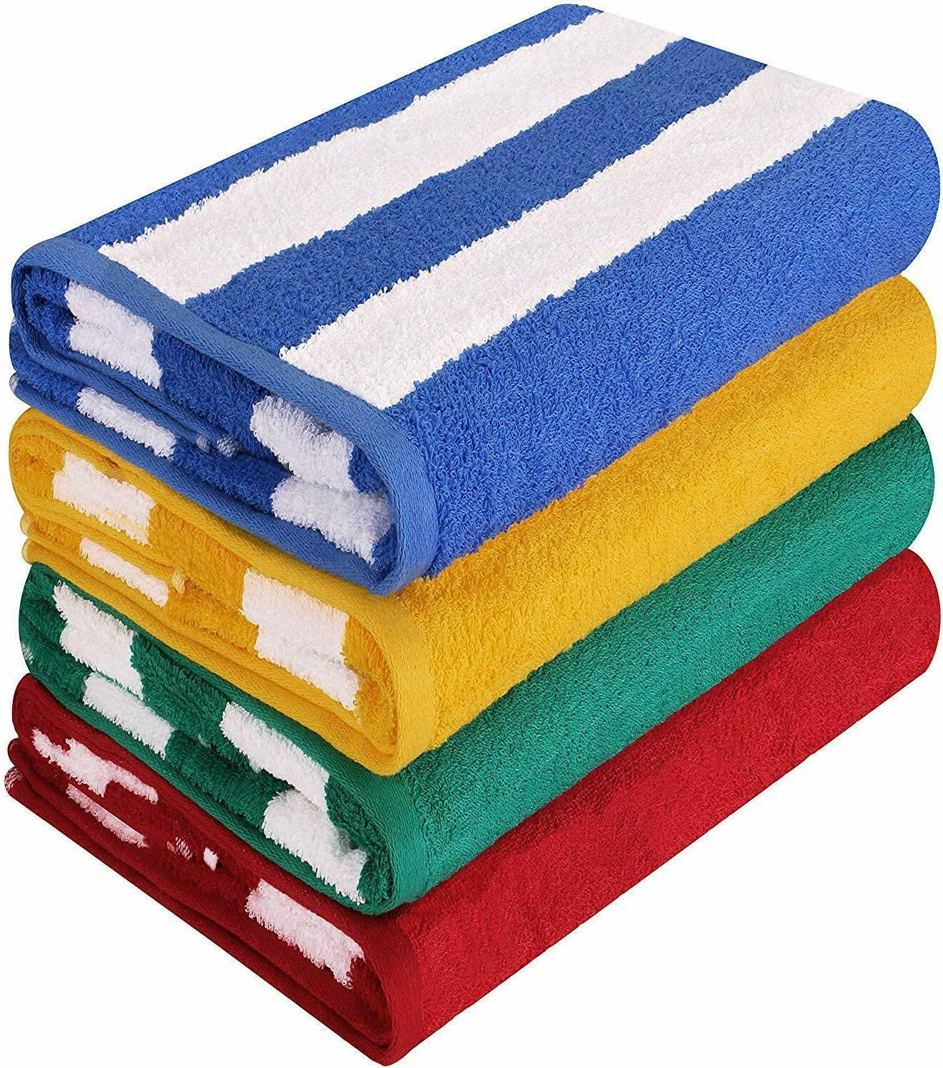 "4 Pack Cabana Stripe Extra Absorbent  30 x 60 "" Beach Pool T"