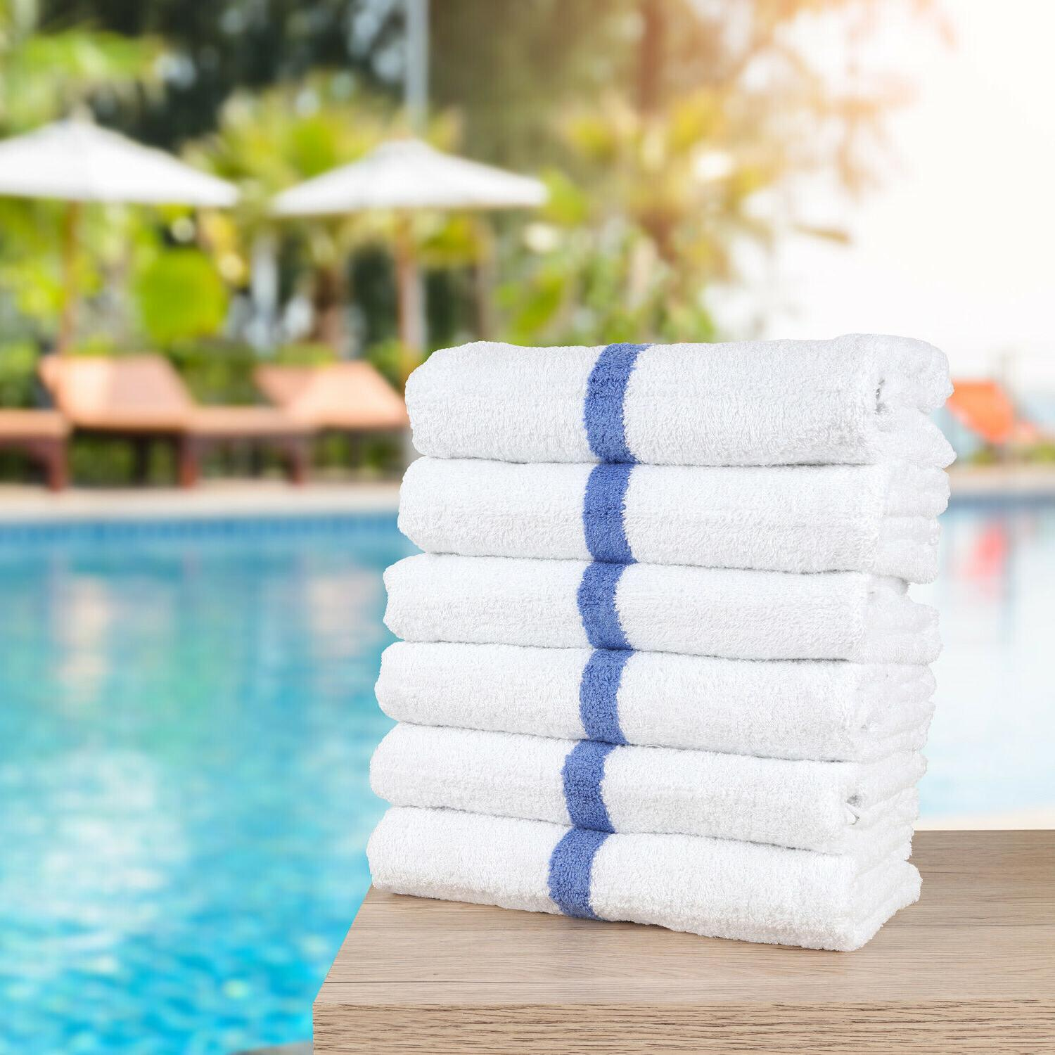 Striped Cotton Towels - Value 12 Pack - 22 44 - White w/ Blue