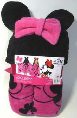 """Disney Minnie Mouse Hooded Towel 100% Cotton Pink Black 51""""x"""