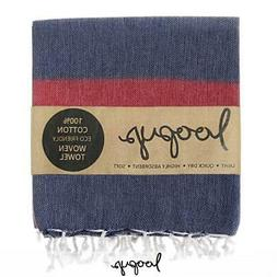 Loopys Navy & Red Stripe premium Turkish Towel Beach Bath Po