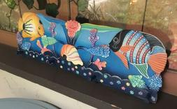 NEW! TROPICAL FISH Wooden Peg RACK Artisan Hand-Crafted Wall