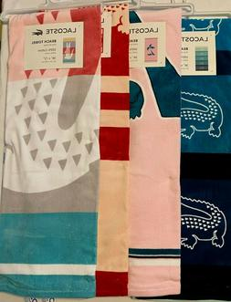 """New With Tags LACOSTE 🐊 Beach pool Towel Size 36"""" x 72"""" 1"""