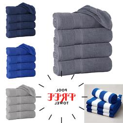 Pack of 4 Luxury Large Bath Towels With 4 Free Pool Beach To