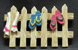 Pool Fence with Flip Flops and Towel - Dollhouse Miniature
