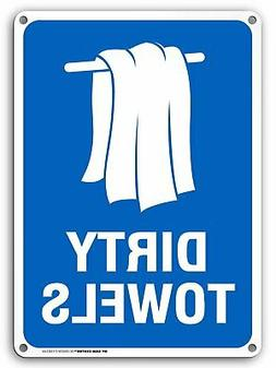 Pool Safety Signs - Dirty Pool Towels Sign, Dirty Towels Sig