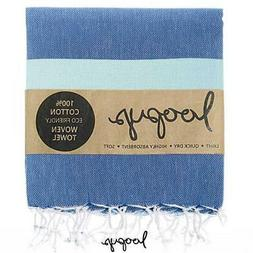 Premium Denim Blue & Mint Loopys Cotton Turkish Towel Beach