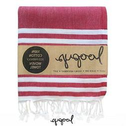 Loopys Red & White Double Stripe Turkish Towel Beach Bath Po