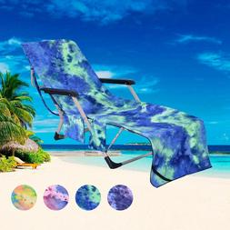 Soft Beach Towel Pool Lounger Chair Seat Cover with Pockets
