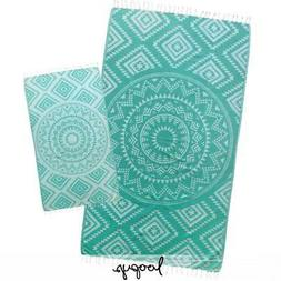 Loopys Turquoise Aztec Tribal Turkish Beach Pool Bath Towel