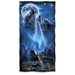 Dawhud Direct Wolves Howling Moon Super Soft Plush Cotton Be
