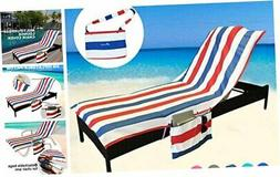 YOULERBU Beach Chair Cover Towel with Pillow,Pool Lounge Cha
